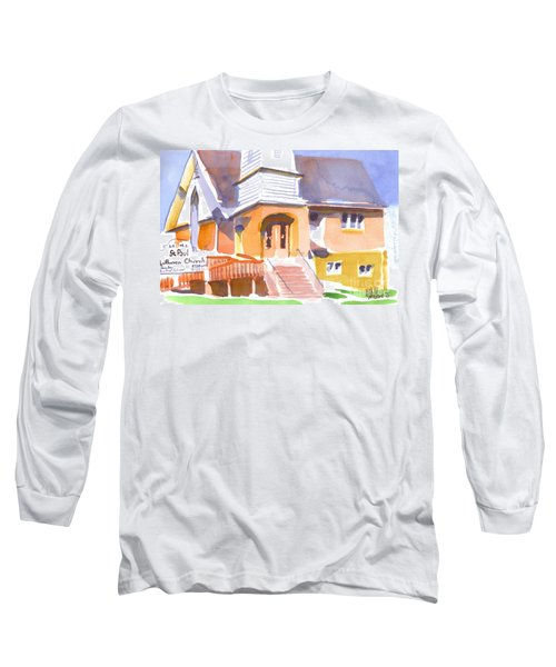 Long Sleeve T-Shirt featuring the painting St. Paul Lutheran Ironton Missouri by Kip DeVore