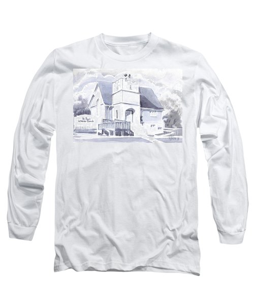 Long Sleeve T-Shirt featuring the painting St. Paul Lutheran Church 2 by Kip DeVore