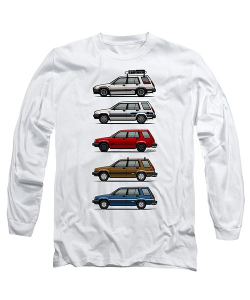 Stack Of Toyota Tercel Sr5 4wd Al25 Wagons Long Sleeve T-Shirt by Monkey Crisis On Mars