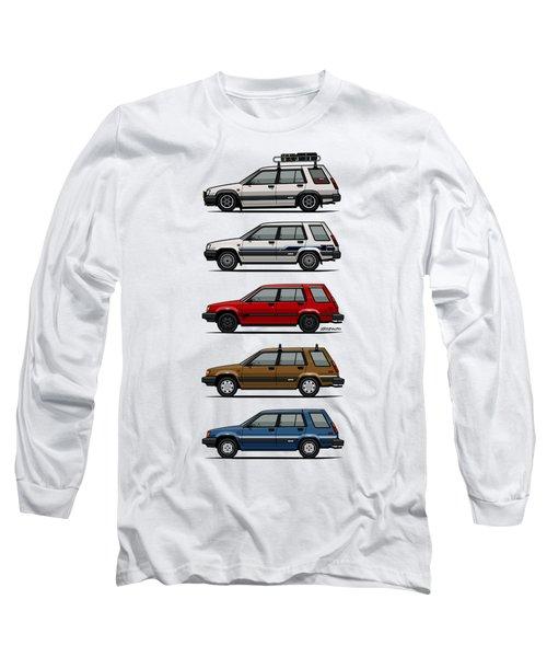 Stack Of Toyota Tercel Sr5 4wd Al25 Wagons Long Sleeve T-Shirt