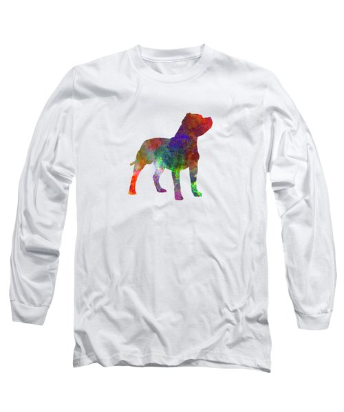 Staffordshire Bull Terrier In Watercolor Long Sleeve T-Shirt