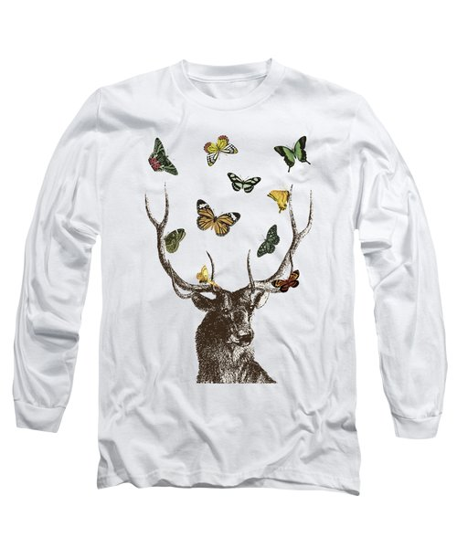 Stag And Butterflies Long Sleeve T-Shirt