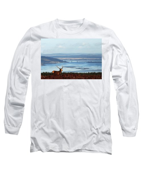 Stag Overlooking The Beauly Firth And Inverness Long Sleeve T-Shirt
