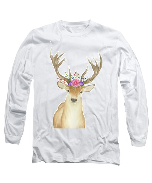 Long Sleeve T-Shirt featuring the painting Stag Watercolor  by Taylan Apukovska