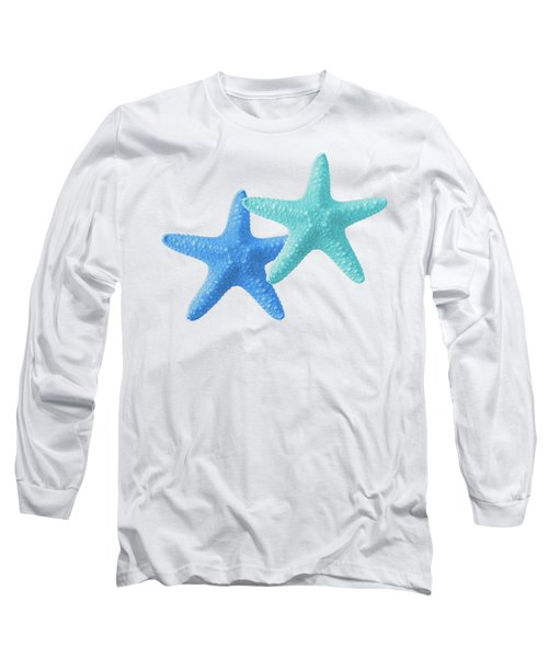 Starfish Blue And Turquoise On White Long Sleeve T-Shirt