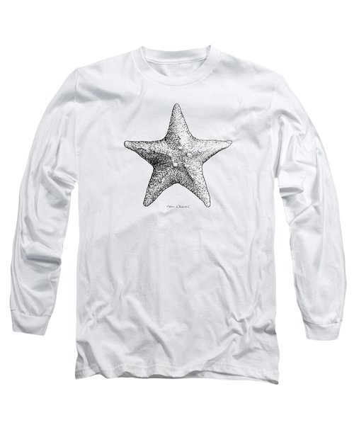 Long Sleeve T-Shirt featuring the drawing Starfish Drawing Black And White Sea Star by Karen Whitworth