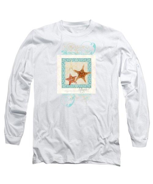 Starfish Greek Key Pattern W Swirls Long Sleeve T-Shirt