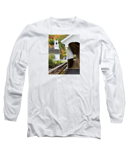 Long Sleeve T-Shirt featuring the photograph Stark, Nh Union Church And Covered Bridge by Betty Denise