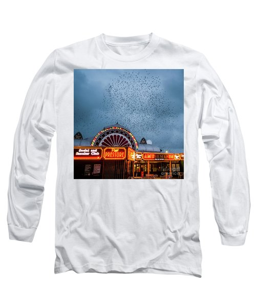 Starlings Over The Neon Lights Of Aberystwyth Pier Long Sleeve T-Shirt