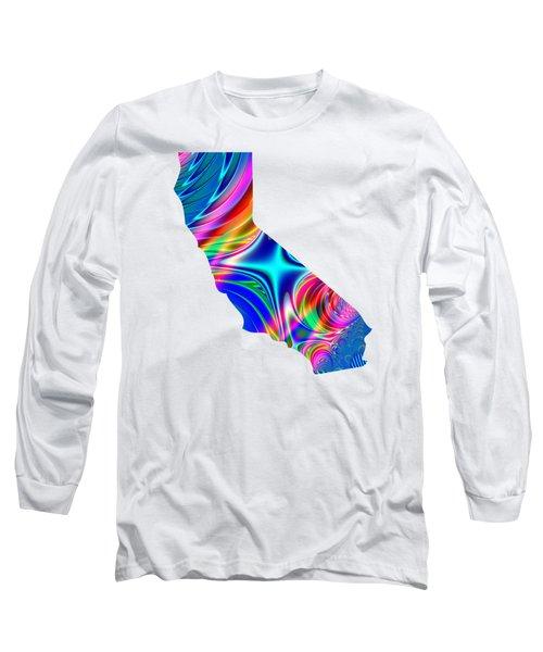 State Of California Map Rainbow Splash Fractal Long Sleeve T-Shirt