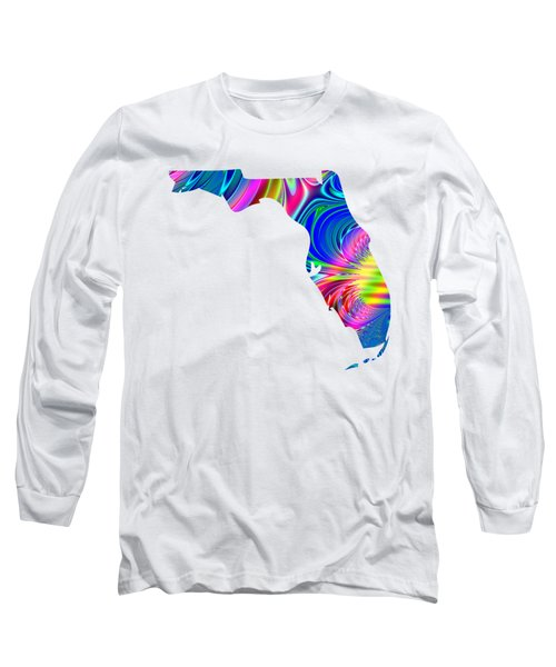 State Of Florida Map Rainbow Splash Fractal Long Sleeve T-Shirt