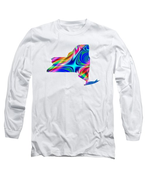 State Of New York Map Rainbow Splash Fractal Long Sleeve T-Shirt by Rose Santuci-Sofranko