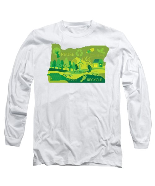 State Of Oregon Map Environment Eco Outline Long Sleeve T-Shirt