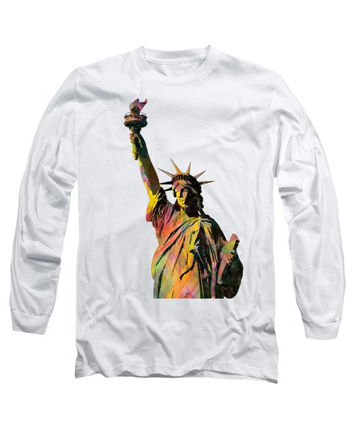 Statue Of Liberty Long Sleeve T-Shirt by Marlene Watson