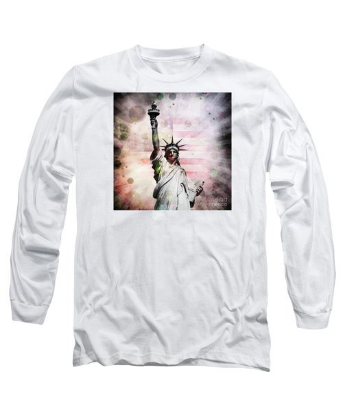 Long Sleeve T-Shirt featuring the digital art Statue Of Liberty by Phil Perkins