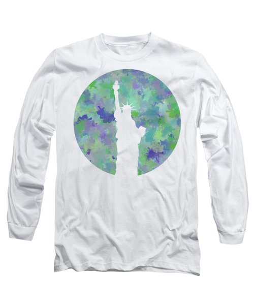 Statue Of Liberty Silhouette Long Sleeve T-Shirt by Phil Perkins