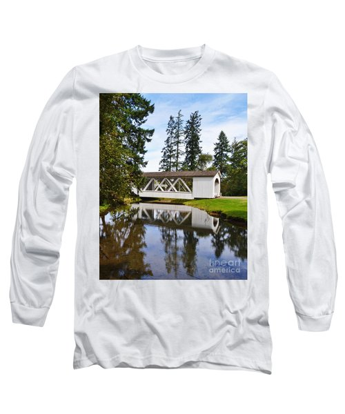 Stayton-jordon Covered Bridge Long Sleeve T-Shirt by Ansel Price
