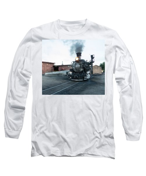 Long Sleeve T-Shirt featuring the photograph Steam Locomotive In The Train Yard Of The Durango And Silverton Narrow Gauge Railroad In Durango by Carol M Highsmith