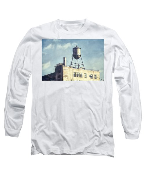 Long Sleeve T-Shirt featuring the photograph Steel Water Tower, Brooklyn New York by Gary Heller
