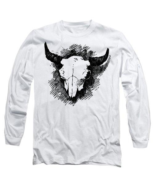 Steer Skull Tee Long Sleeve T-Shirt by Edward Fielding