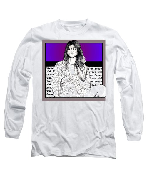 Long Sleeve T-Shirt featuring the mixed media Steve Vai Sitting by Curtiss Shaffer