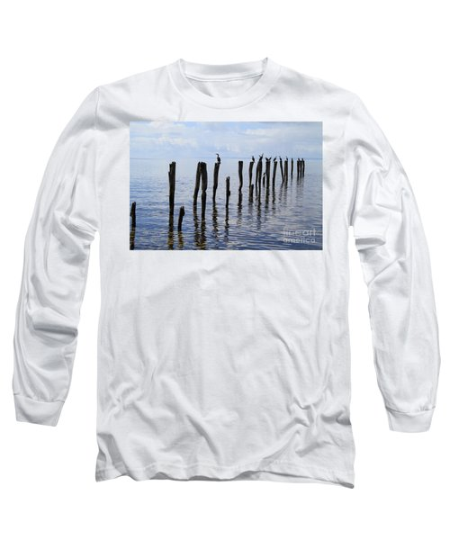 Long Sleeve T-Shirt featuring the photograph Sticks Out To Sea by Stephen Mitchell