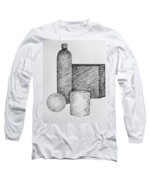 Still Life With Cup Bottle And Shapes Long Sleeve T-Shirt