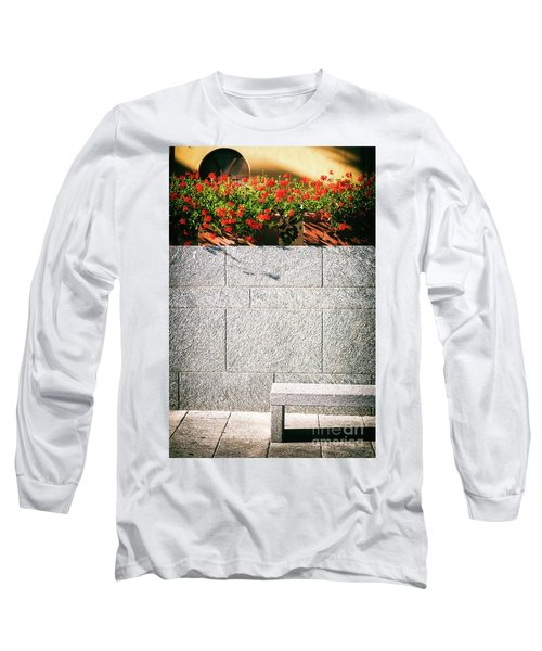 Long Sleeve T-Shirt featuring the photograph Stone Bench With Flowers by Silvia Ganora