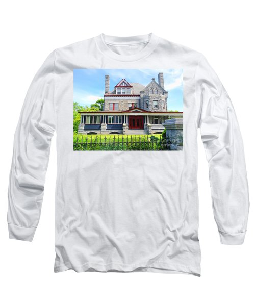 Long Sleeve T-Shirt featuring the photograph Stone Mansion Red Doors by Becky Lupe