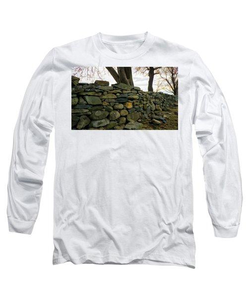Stone Wall, Colt State Park Long Sleeve T-Shirt by Nancy De Flon