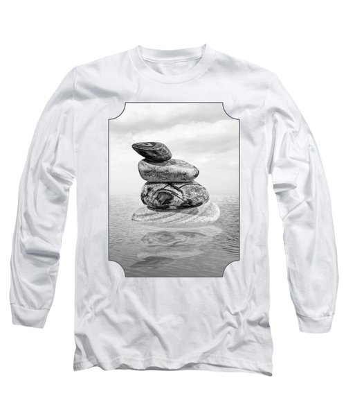 Stones In Water Black And White Long Sleeve T-Shirt