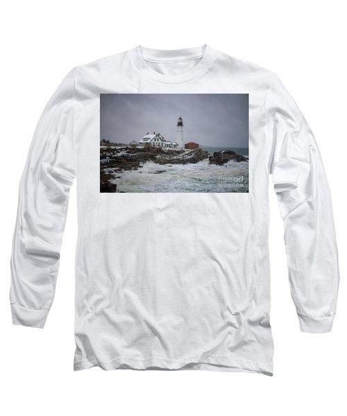 Stormy Portland Head Light Long Sleeve T-Shirt