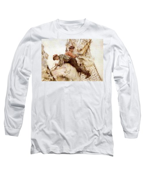 Long Sleeve T-Shirt featuring the painting Stowing The Headsails  by Henry Scott Tuke