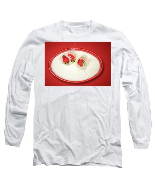 Strawberries Splashing In Milk Long Sleeve T-Shirt