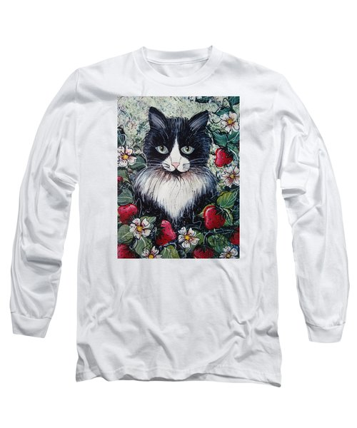 Strawberry Lover Cat Long Sleeve T-Shirt by Natalie Holland