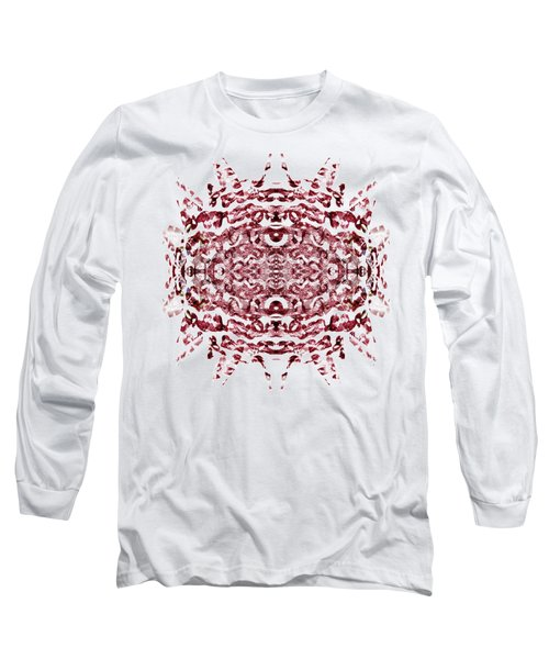 Strawberry Red Abstract Long Sleeve T-Shirt by Frank Tschakert