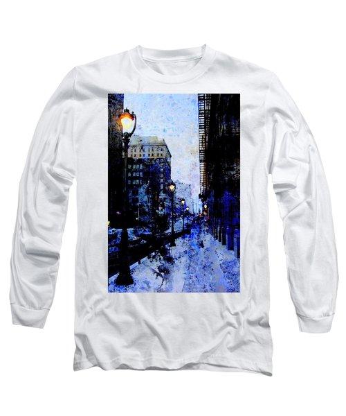 Street Lamps Sidewalk Abstract Long Sleeve T-Shirt