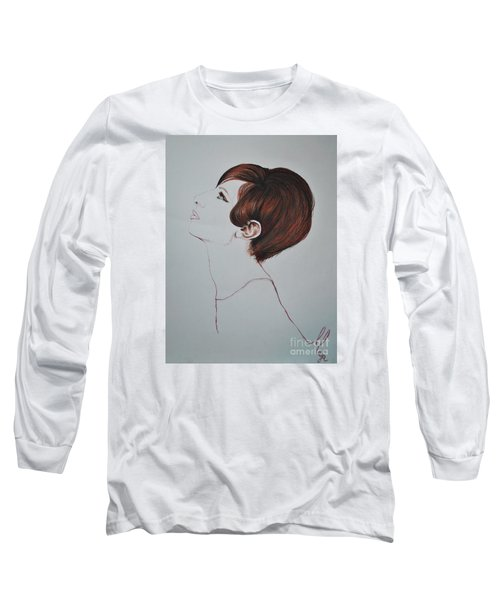 Long Sleeve T-Shirt featuring the drawing Barbra Streisand by Maja Sokolowska