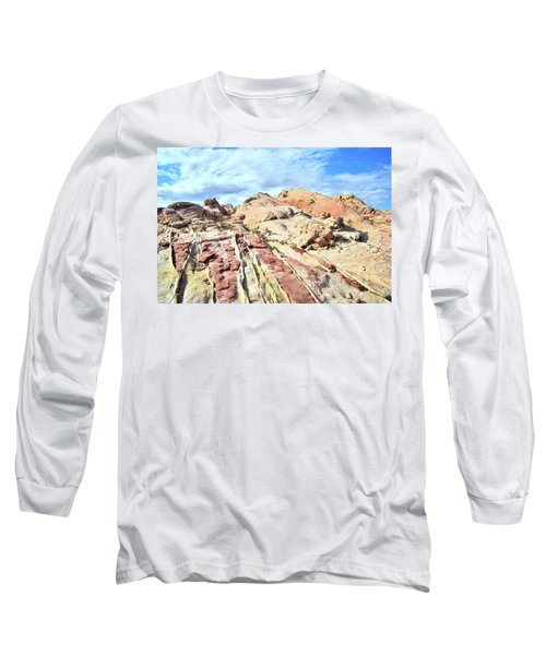 Stripes Of Valley Of Fire Long Sleeve T-Shirt by Ray Mathis
