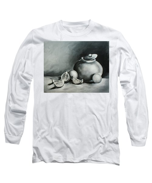 Study Of Lemons, Oranges And Covered Jug In Black And White Long Sleeve T-Shirt