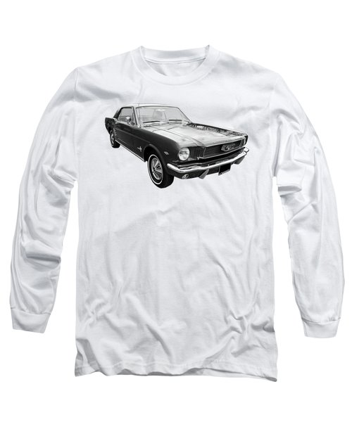 Stunning 1966 Mustang In Black And White Long Sleeve T-Shirt