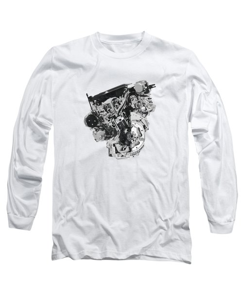 Stylized Cross Section Of Buick Lacrosse V6 Engine Art Print Long Sleeve T-Shirt