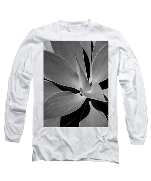 Succulent In Black And White Long Sleeve T-Shirt by Karen Nicholson