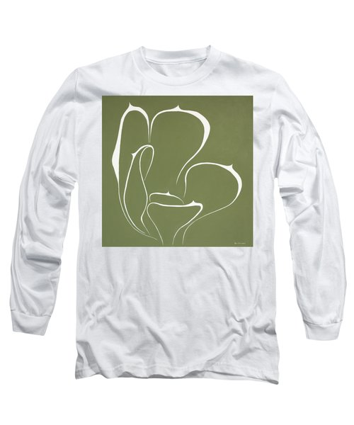 Long Sleeve T-Shirt featuring the painting Succulent In Green by Ben Gertsberg