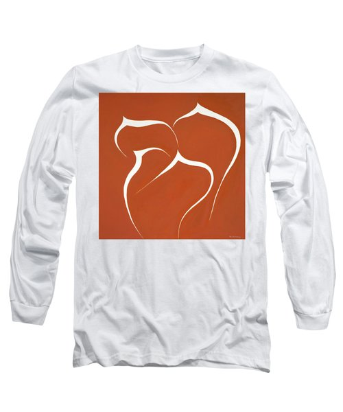 Long Sleeve T-Shirt featuring the painting Succulent In Orange by Ben Gertsberg