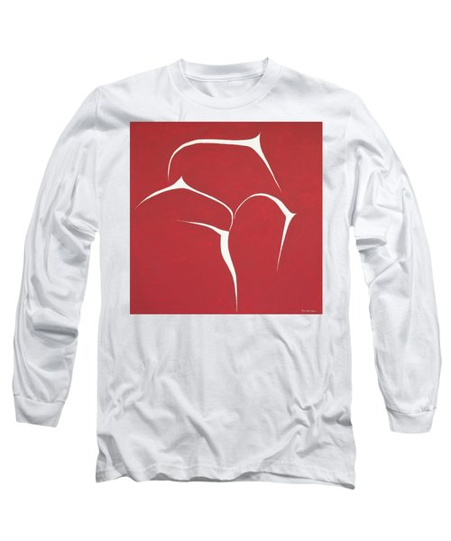 Long Sleeve T-Shirt featuring the painting Succulent In Red by Ben Gertsberg