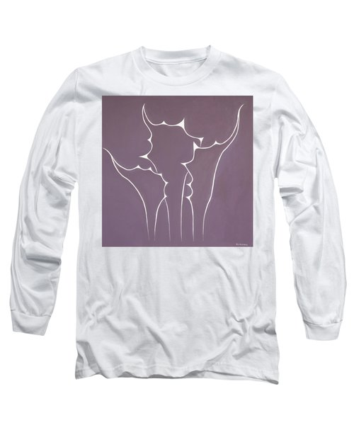 Long Sleeve T-Shirt featuring the painting Succulent In Violet by Ben Gertsberg