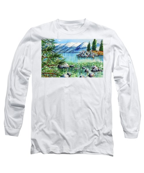 Long Sleeve T-Shirt featuring the painting Summer At Lake Tahoe by Terry Banderas