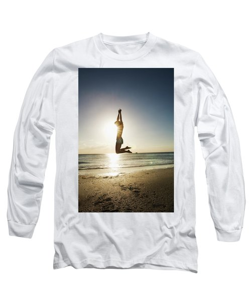 Summer Girl Summer Jump  Long Sleeve T-Shirt by Amyn Nasser