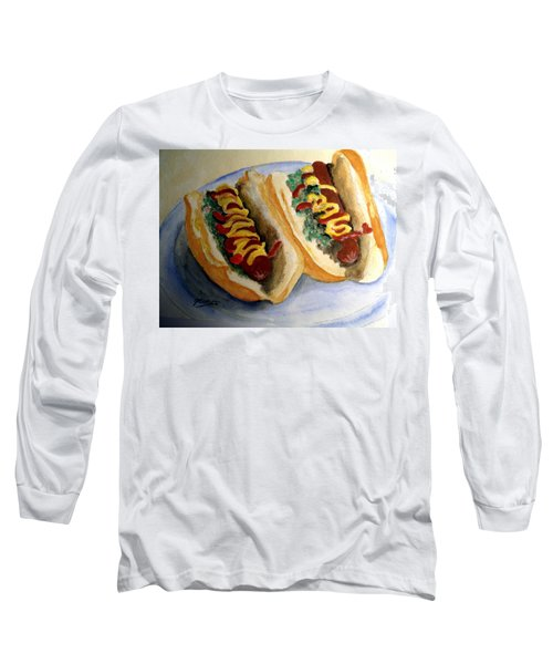 Long Sleeve T-Shirt featuring the painting Summer Hot Dogs by Carol Grimes